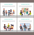 business meeting posters with people at work set vector image vector image