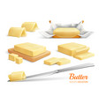 butter realistic set vector image vector image