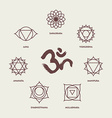 Chakra symbols line style set and om calligraphy vector image