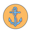 circle banner depicting anchor with rope around it vector image vector image
