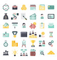 colorful business themed flat icons set vector image