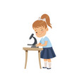 cute girl using microscope at lesson pupil in vector image vector image