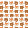 cute woodland animals characters pattern vector image vector image