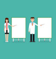 doctor female and male with presentation board vector image