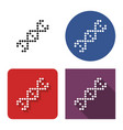 dotted icon dna helix in four variants with vector image vector image