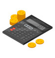 financial calculator icon isometric style vector image vector image