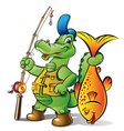 fisher alligator vector image vector image