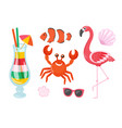 flamingo and crab cocktail and fish isolated set vector image vector image