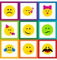 flat icon emoji set of party time emoticon sad vector image vector image