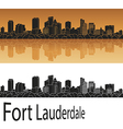 Fort Lauderdale skyline in orange vector image vector image