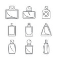 fragrance bottles perfume icons set outline style vector image vector image