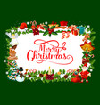 frame of fir and presents for christmas holiday vector image vector image