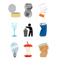 garbage and waste elements vector image