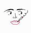 girl smoking cigarette doodle cartoon character vector image