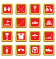 golf icons set red square vector image vector image