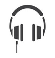 headphone solid icon listen and music vector image