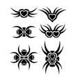 hearts tribal tattoo set vector image vector image