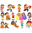 kids in different expressions and actons vector image