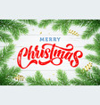 merry christmas greeting card calligraphy gold vector image vector image