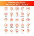 orange futuro 25 artificial intelligence icon set vector image vector image