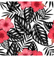 pattern hibiscus and tropical leaves vector image