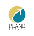 plane travel circle logo vector image vector image