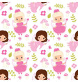 seamless pattern with fairy amanita flower and vector image vector image