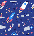 seamless pattern with rockets satellite ufo stars vector image vector image