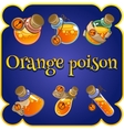 Set of six bottles with orange poison vector image vector image