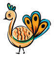 simple colorful cartoon peacock on white vector image vector image