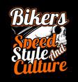 skull bikersspeedstyle and culture hand vector image vector image