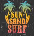 sun sand surf quote typographical background vector image vector image