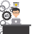 Technology and networking design vector image