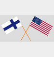 the finland and united states flags crossed vector image vector image
