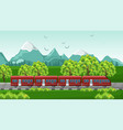 train traveling red vehicle on beautiful vector image vector image