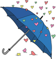Umbrella and colourful hearts vector image vector image
