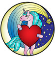 unicorn colorful round print vector image
