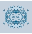 Vintage blue frame with vegetable elements for vector image vector image