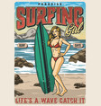 vintage colorful surfing poster vector image vector image