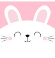 white bunny rabbit head face square icon pet baby vector image vector image