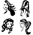 Woman hair silhouettes vector image vector image