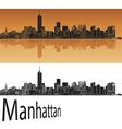 Manhattan skyline in orange vector image