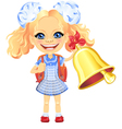 girl in a blue school dress rings the bell vector image