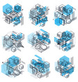 abstract backgrounds with isometric lines and vector image vector image