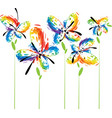abstract flowers on white vector image vector image