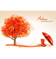 autumn banners with trees and umbrella and rain vector image vector image