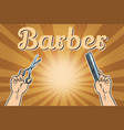 barber shop background the hands with scissors vector image vector image