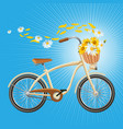 bicycle with cart full of flowers petals flying vector image vector image