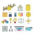 bitcoin colorful icons of secure investment vector image vector image