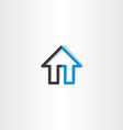 black blue house line icon vector image vector image